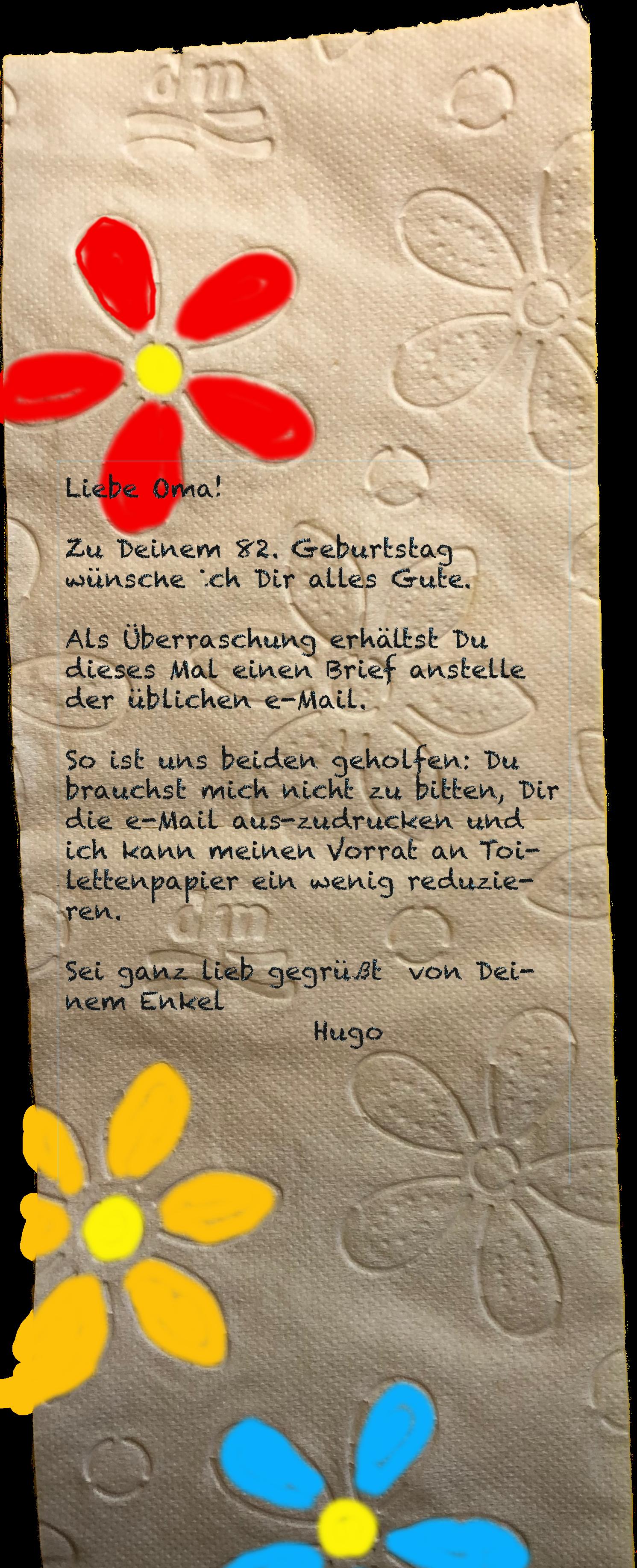 Brief auf Toilettenpapier: Liebe Oma